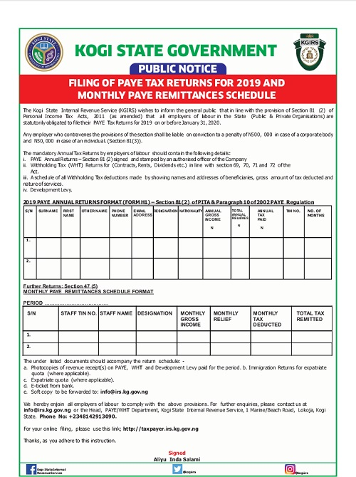 FILING OF PAYE TAX RETURNS FOR 2019 AND MONTHLY PAYE REMITTANCES SCHEDULE