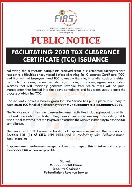2020 TAX CLEARANCE CERTIFICATE (TCC) ISSUANCE